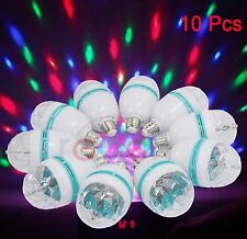 10 Pcs E27 3W Multicolor Auto Rotating RGB LED Stage Light Xmas Party Lamp US