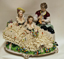 Vintage Unter Weiss Bach Porcelain Figural Grouping Music Dresden Lace Figurine