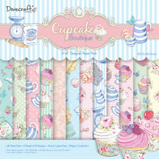"DOVECRAFT CUPCAKE 8"" X 8"" 48 SHEET PACK BACKING PAPER SCRAPBOOKING CARD MAKING"