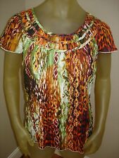 NWT Lemon Grass Multi Colored Cap Sleeved Shirt Top Womens Small S