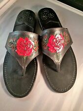 JACK ROGERS BLACK SIZE 8 M GENUINE LEATHER, HAND TOOLED RED ROSE NEW 1-OF-A-KIND