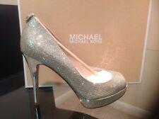 MICHAEL KORS NEW !!!! Women Open Toe dress York Platform/silver Glitter, sz 9.5M