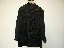 WITCHERY BLACK SHEER BUTTON FRONT SHIRT W/RAISED VELVET FLORAL PATTERN - SIZE 8