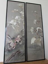 2x Large Framed & Glazed Chinese Silk Hand Embroidered Embroidery Panel Pictures