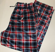 New MENS SLEEP PANTS LOUNGE PLAID NAUCTICA DRAWSTRING ELASTIC SZ LARGE