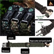 Outdoor Survival Gear Escape Paracord Bracelet Flint Whistle Compass Scraper New
