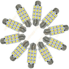 "10 x 39mm 1.55"" Pure White 12 SMD 3528 C5W LED Dome Festoon Light Bulb 6413 6418"