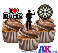 12 X I Love Darts Dartboard Player Mix - EDIBLE WAFER CAKE TOPPERS STAND UPS
