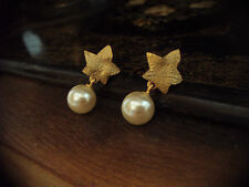 Vintage Ivy Leaf with Pearl Drop Pierced Earrings
