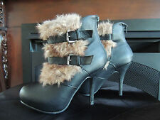 Womens Size 8  * NATURE BREEZE * Black Furry Platform Ankle Boots