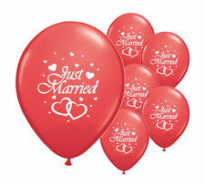 "8 JUST MARRIED RED 12"" HELIUM QUALITY PEARLISED WEDDING BALLOONS (PA)"