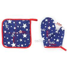 Cotton Oven Microwave Glove Pot Pad Holder BBQ Baking Kitchen Mitts Protector