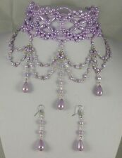 LILAC FAUX  PEARL VICTORIAN AND GOTHIC LOOK BURLESQUE NECKLACE & EARRINGS SET