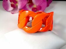 NIB FABULOUS JUICY COUTURE CHUNKY LINK NEON ORANGE ENAMEL STRETCH BRACELET