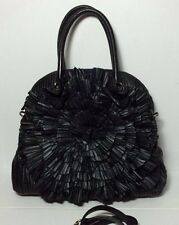 =STUNNING= VALENTINO $3495 Black Pleated Rose Petale Nappa Leather Dome Tote Bag