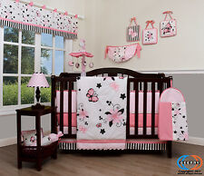 Baby New Pink Butterfly 13 Piece Nursery CRIB BEDDING SET