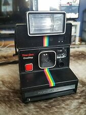Vintage POLAROID SX-70 Time-Zero OneStep Rainbow Stripe with polaroid 2351 flash