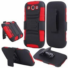For Samsung S3 i9300 Side Stand With Holster - Black+Red