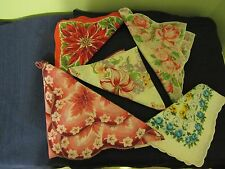 Vintage 5 Ladies Handkerchiefs of Late 1940's Different Designs, Great Shape