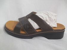 CLARKS 9M Sandals Chunky Brown Leather Shoes low heel comfy sturdy