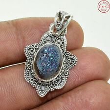 """Solid 925 Sterling Silver Titanium Druzy New Pendant Jewellery S 1 1/4"""" AG376"""