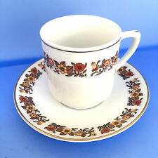 Art HK Porcelain Vintage Fall Colors Flowers Teacup Saucer