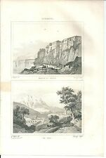 1836 SORRENTO CASA DI TASSO LA CAVA acquaforte originale Italie Pittoresque
