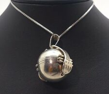 """Taxco Vintage Photo Ball Locket Open Sterling Silver 925 Necklace 16g 30"""" BCN527"""