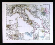 1880 Spruner Map Italy before 1137 Middle Ages - Rome Roma Monte Cassino Venice