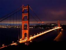GOLDEN GATE BRIDGE NIGHT SAN FRANCISCO PHOTO ART PRINT POSTER PICTURE BMP1225A