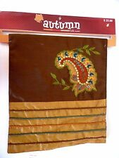 Brown & Gold Green Apliqued Embroidered Paisley Autumn Table Runner Decoration