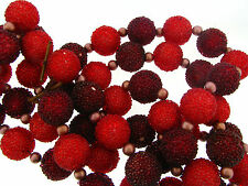 Vintage Red & Cranberry Chunky Sugar Bead Berry Textured Continuous Garland Lot