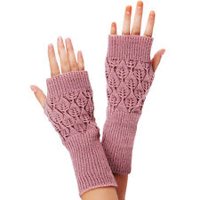 Winter Women Lady Fashion Knitted Fringe Warm Gloves Pink