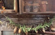 Primitive Early Look  Dried Green Bean Garland Leather Britches  Farmhouse Fall