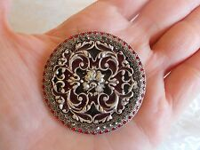 CATHERINE POPESCO FRANCE Red Enamel & Crystal Brooch! Gorgeous!