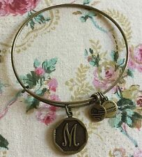"ALEX & ANI ""M"" INITIAL BRACELET IN BRASS METAL SO SWEET"