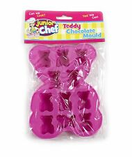 PINK TEDDY BEAR CHOCOLATE MOULD SILICONE CAKE MAKING TOPPERS CUPCAKE FONDANT
