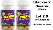 Stacker 2 SWARM Extreme Energizer Weight Loss 20/Bottle Lot of 2 x (40 Capsules)