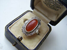 GORGEOUS VINTAGE STERLING SILVER CARNELIAN & MARCASITE RING VERY RARE SIZE L