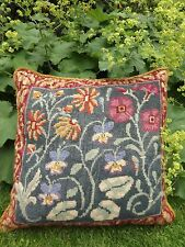 EHRMAN CANDACE BAHOUTH Completed Needlepoint Tapestry MEADOW GARDEN CUSHION