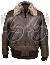 Vintage A2 Bomber Flight Brown Aviator Shirt Collar Leather Jacket