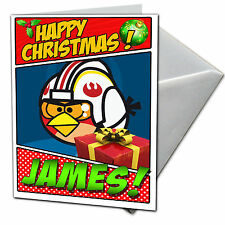 ANGRY BIRDS STAR WARSPersonalised Christmas Card! FREE  Shipping! CHRLAS16
