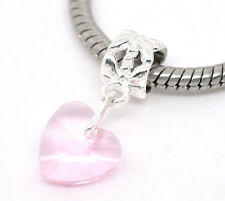 1PC Silver Plated Crystal Glass Heart European Charm Dangle Beads Fit Bracelet