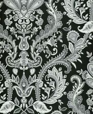 Silver Gray White Paisley on Black Wallpaper MD29430 Double Roll FREE SHIPPING