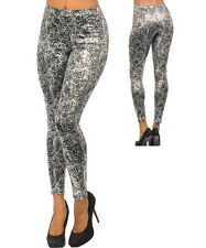 Women Leather Look Leggings Metalic Gold Silver Pink Green Size 8 S 10 M 12 NEW
