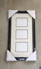 """3 Opening White & Black Double Mat with Black Frame for 5""""x4"""" or 4""""x5"""" Photos"""