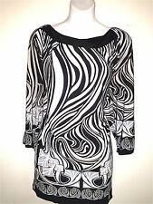 VENEZIA WOMENS LADIES GRAY & BLACK MINI JERSEY KNIT FALL STRETCH DRESS ~ 22 / 24