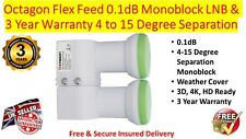 Octagon Flex Feed 0.1dB Monoblock LNB & 3 Year Warranty 4 - 15 Degree Separation