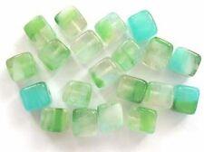 20 marine Czech glass cubes - 6x7mm (6-7cub-gr)