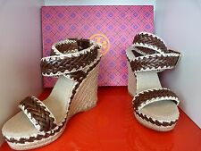 NEW TORY BURCH PALOMA £209 WEDGE HEEL BROWN & BEIGE SHOES .. UK 2  EU 35